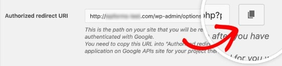 use button copy to authorized redirect path