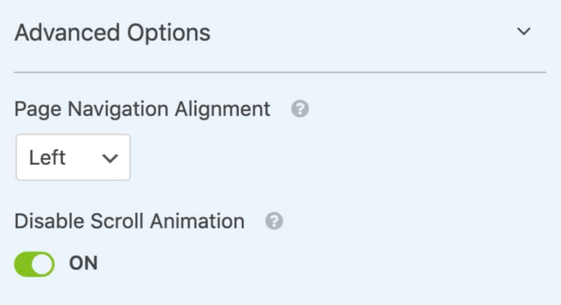 Page Navigation and Disable Scroll options
