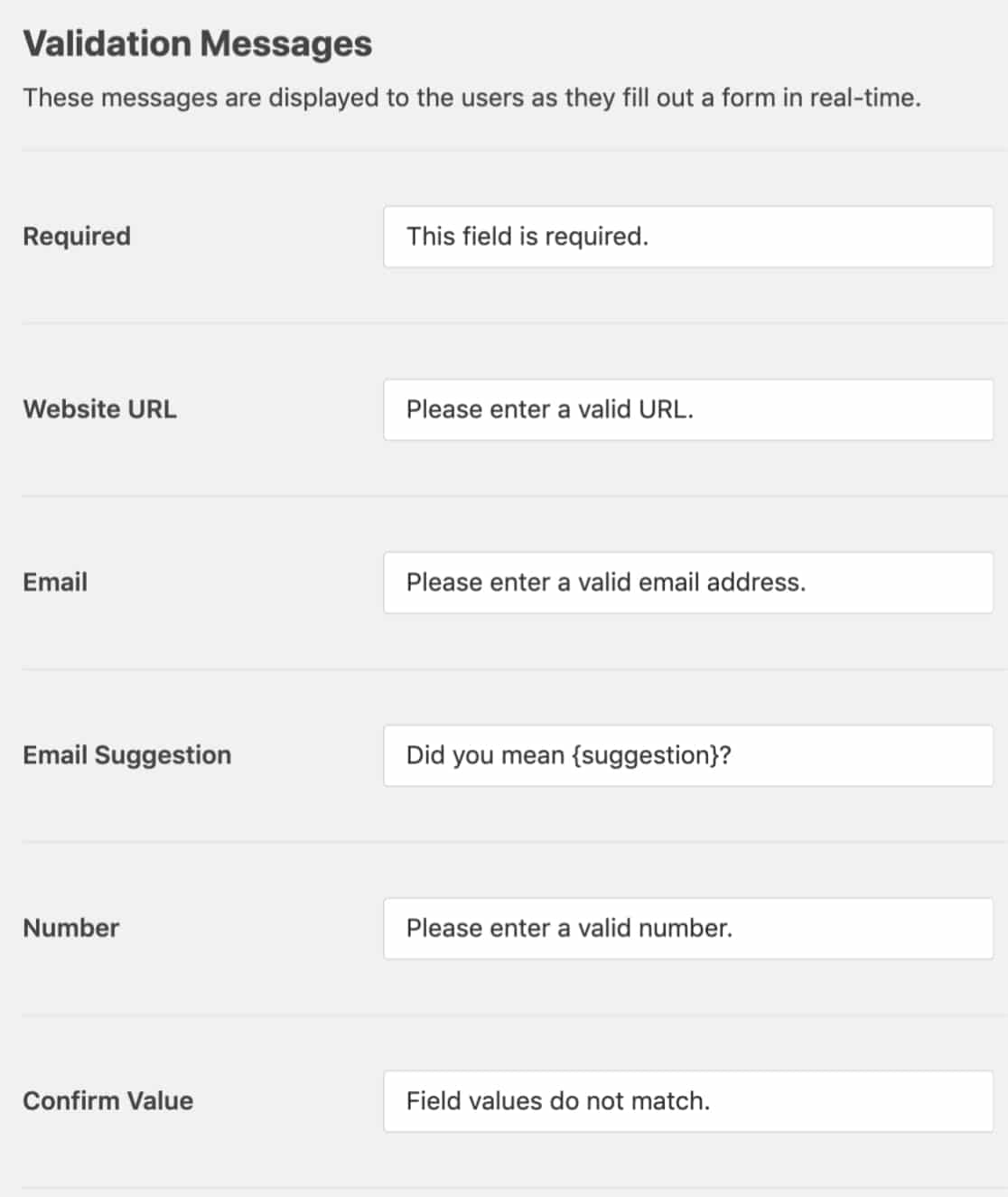 WPForms settings for validation messages