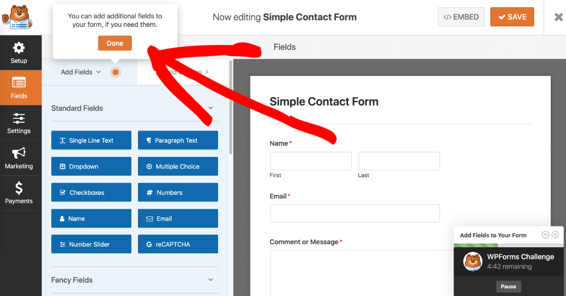 Add form fields in the WPForms challenge