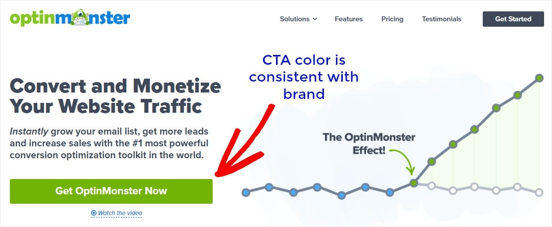 cta color is consistent with brand