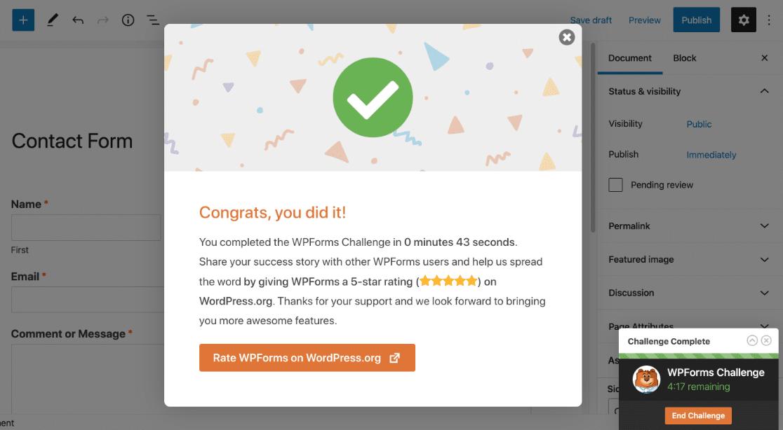 End the WPForms challenge