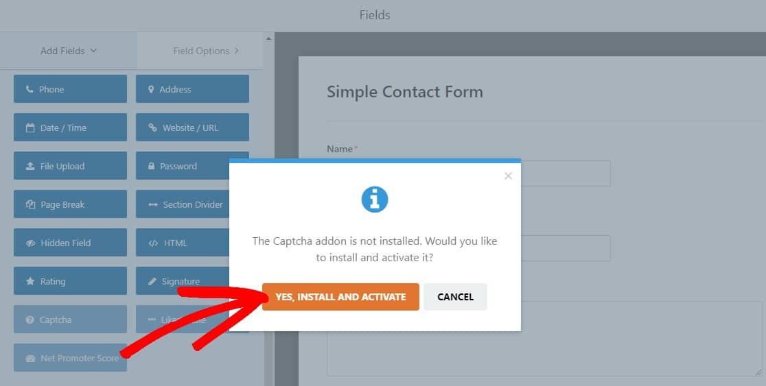 install and activate captcha addon to stop contact form spam