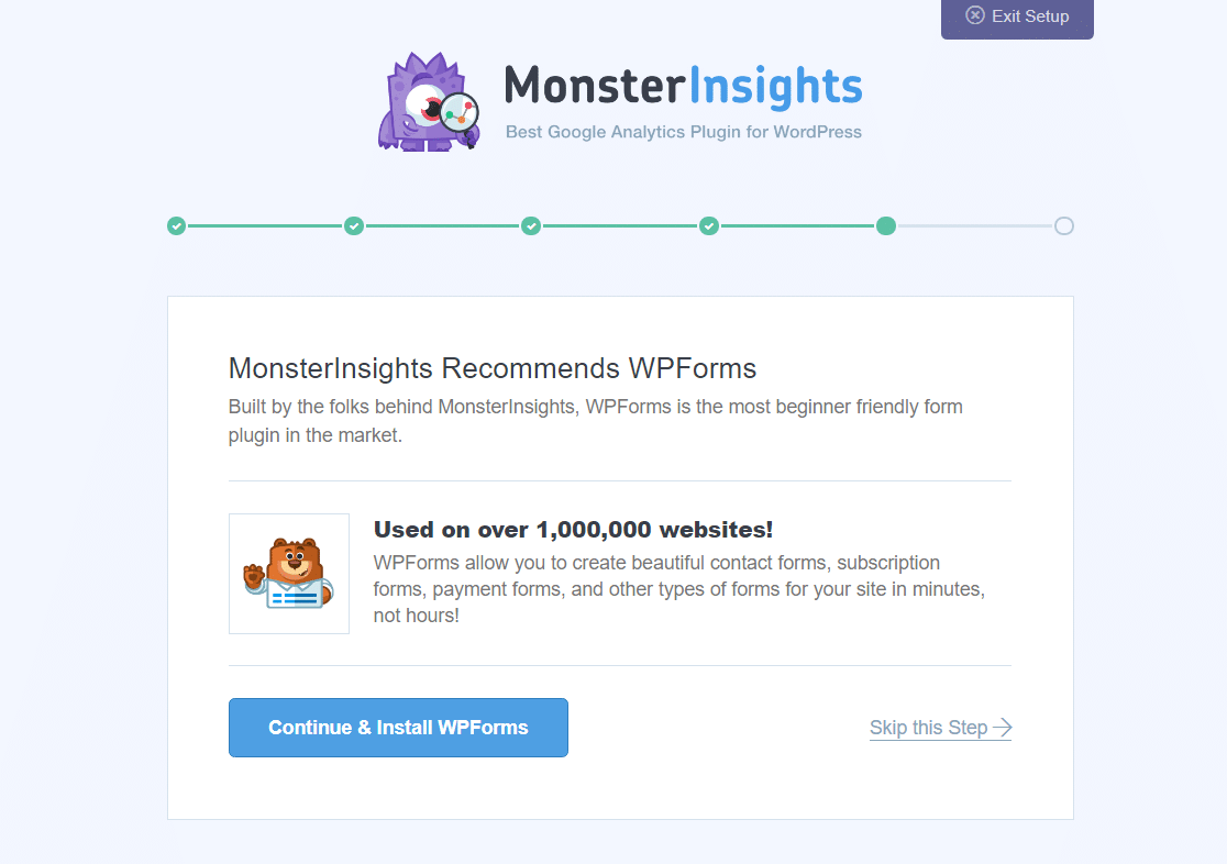 install wpforms from monsterinsights setup wizard