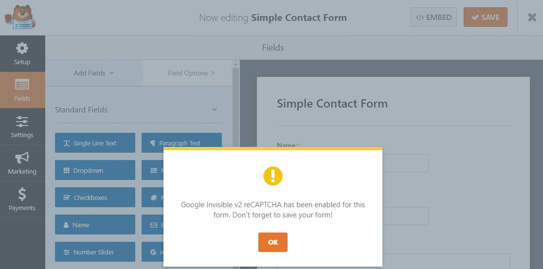 invisible enabled to stop contact form spam