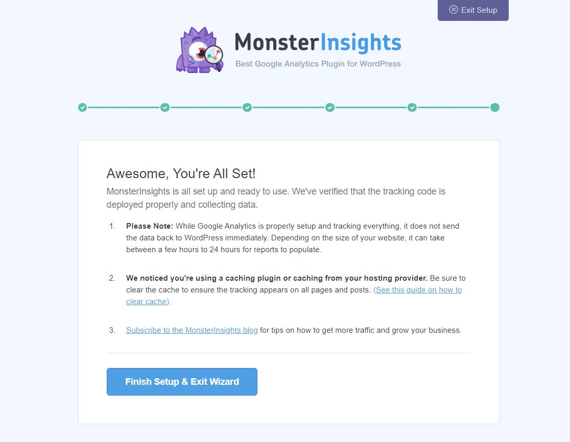 monsterinsights finish setup