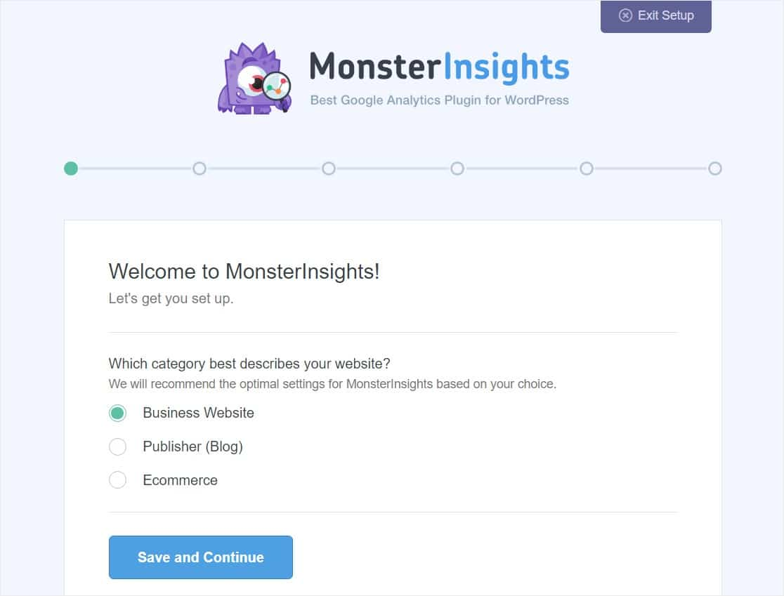 monsterinsights setup wizard start
