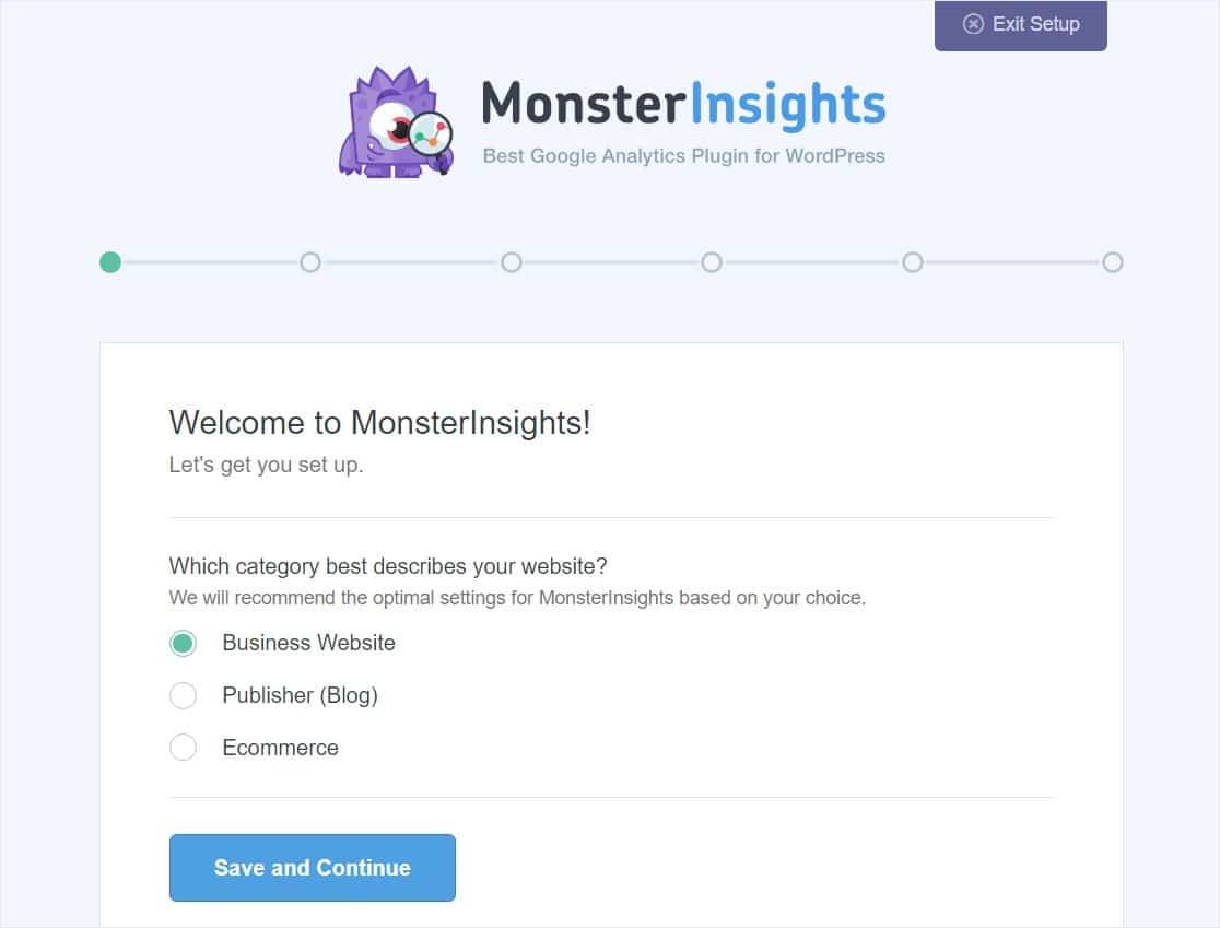monsterinsights setup wizard start
