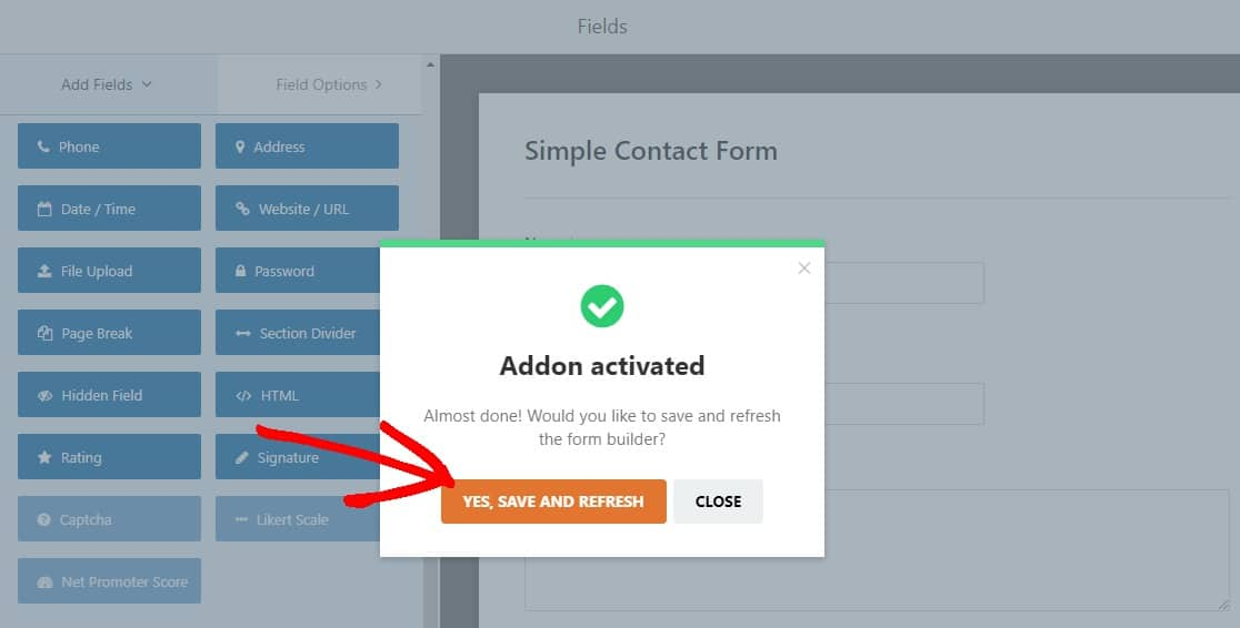save and refresh catpcha addon to stop contact form spam