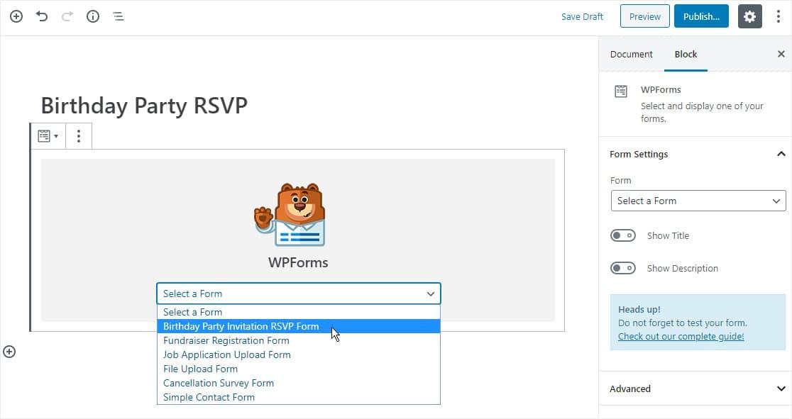 select form in widget