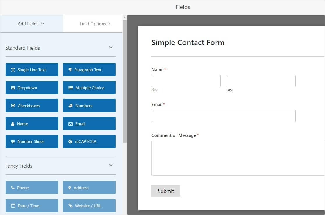 simple contact form on wpforms to stop contact form spam