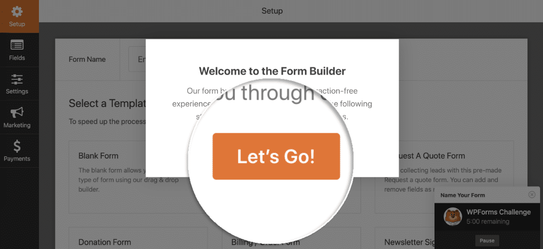 Start the simple contact form wizard challenge