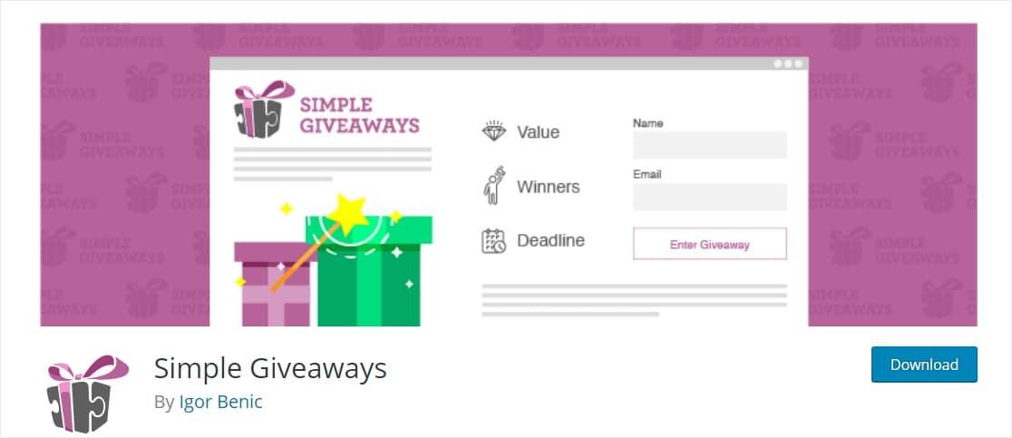 simple giveaways plugin