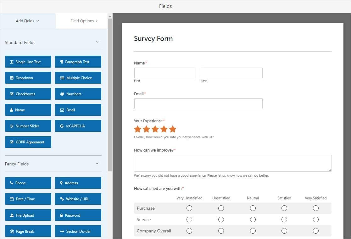 survey form lead gen template