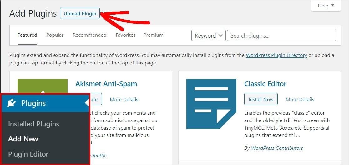 upload google analytics plugin to wordpress