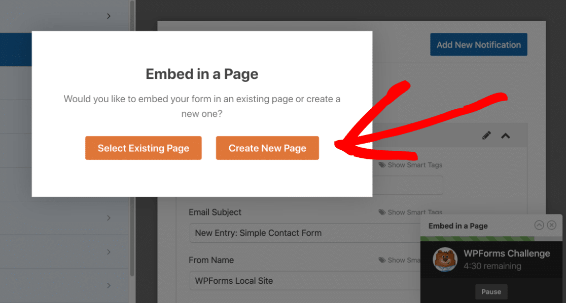 Create a new page in the WPForms Challenge