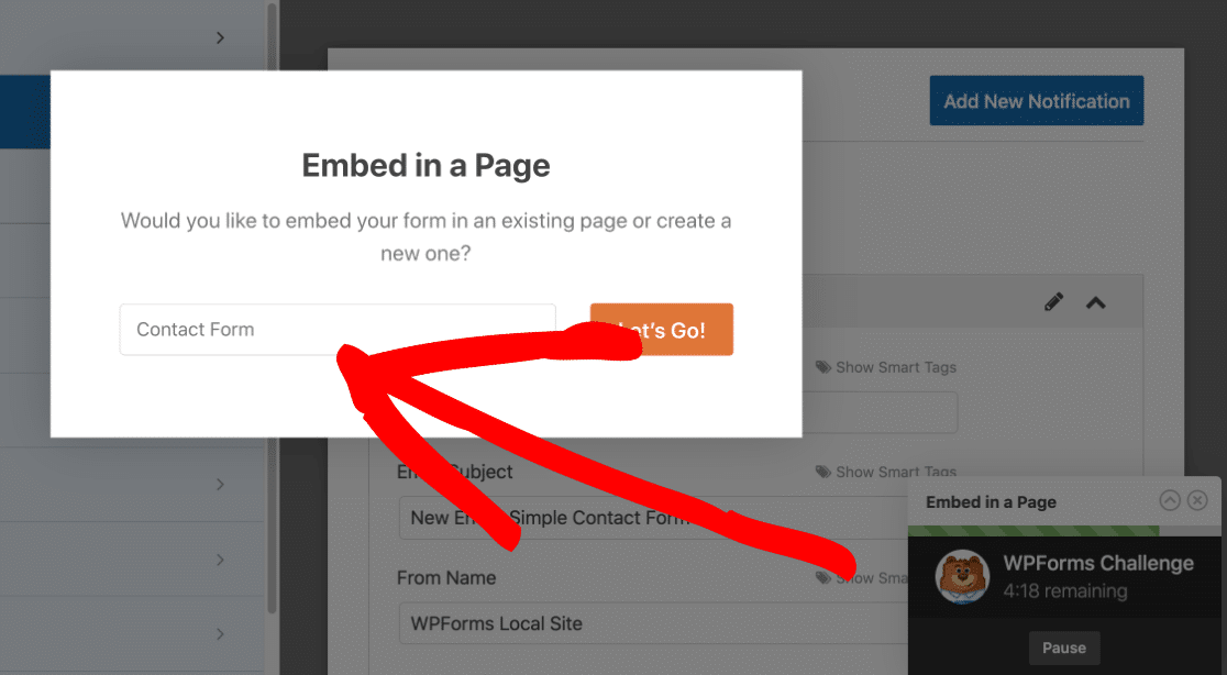 Name your page in the WPForms challenge