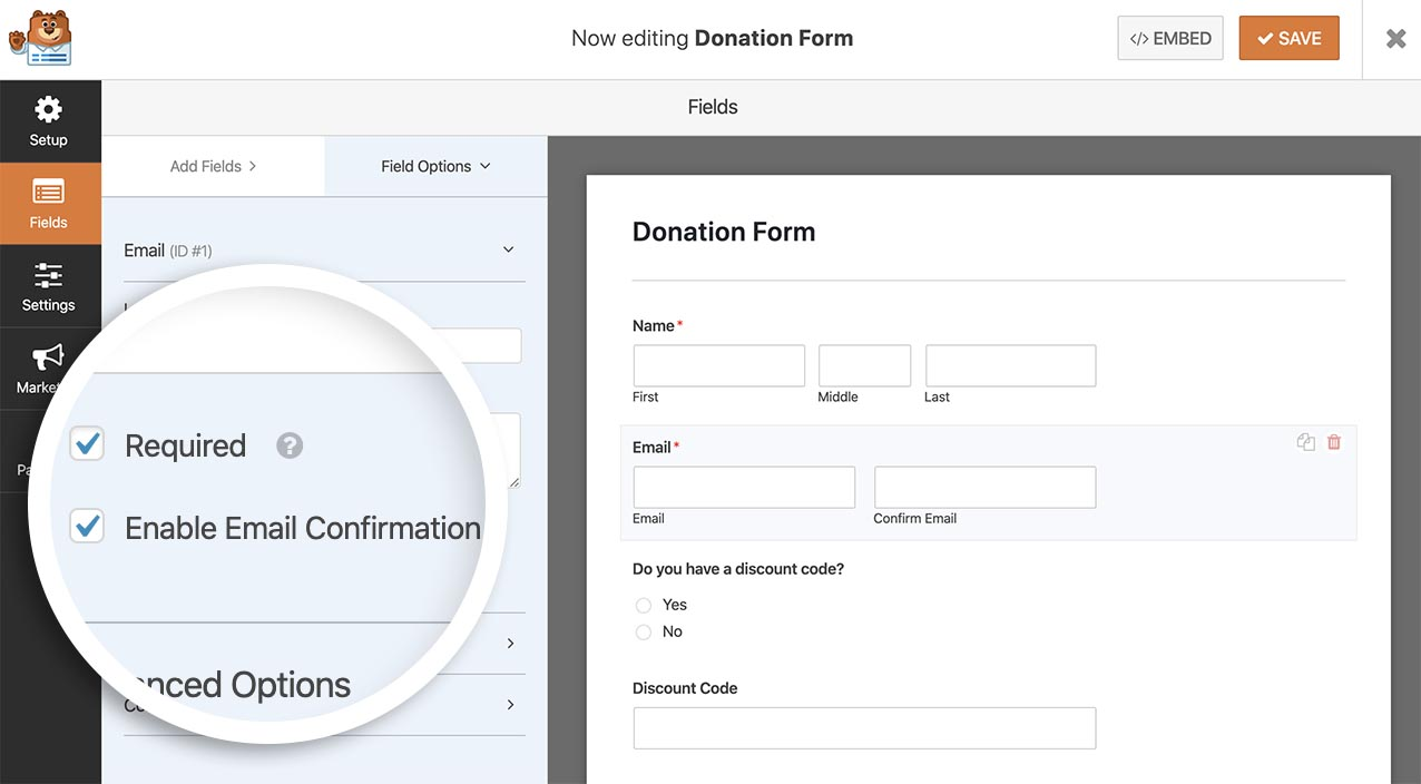 Enable the Email Confirmation inside the Form Builders