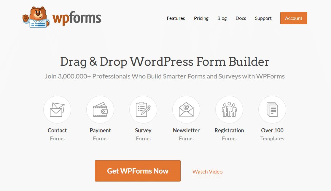 WPForms homepage