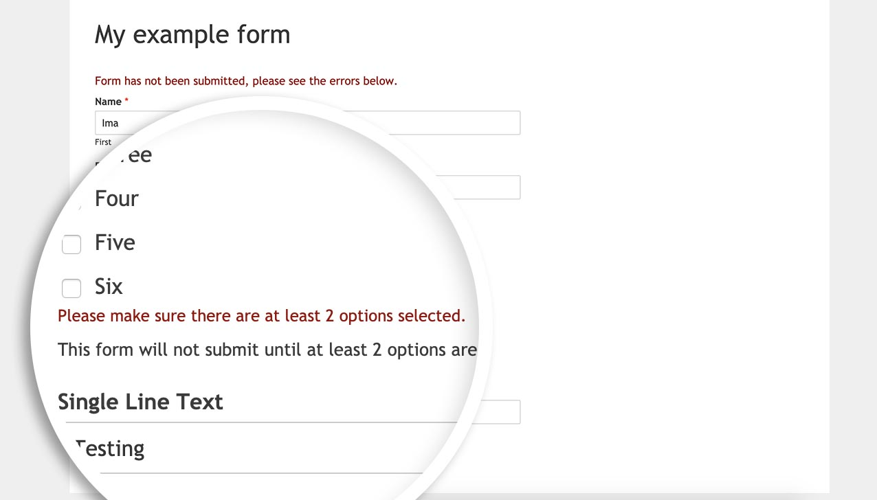 Visitors will see an error message below the field if the user hasn't selected the minimum number of choices