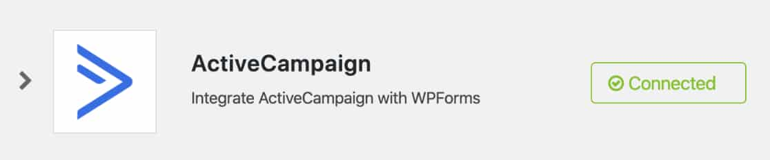 ActiveCampaign account is connected
