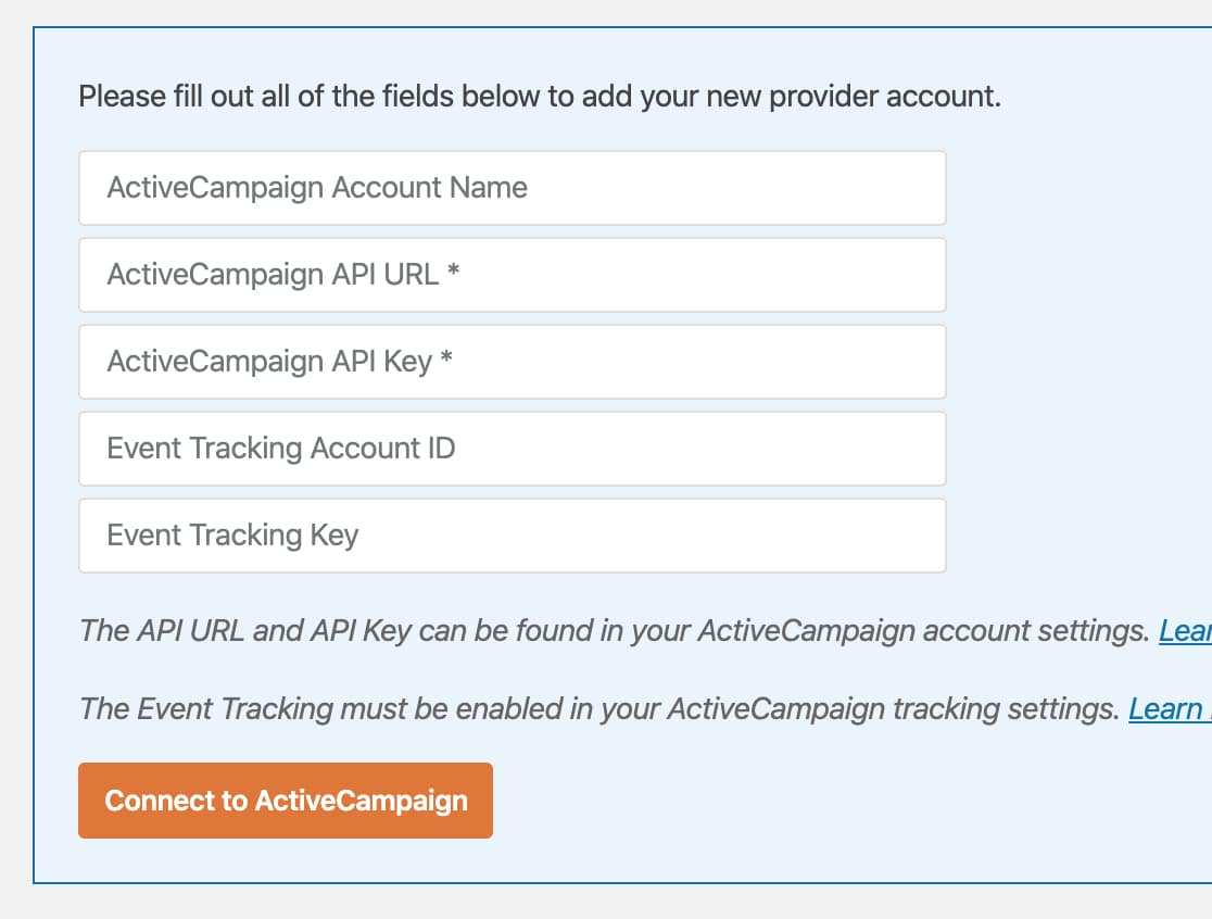 Add ActiveCampaign account details to WPForms