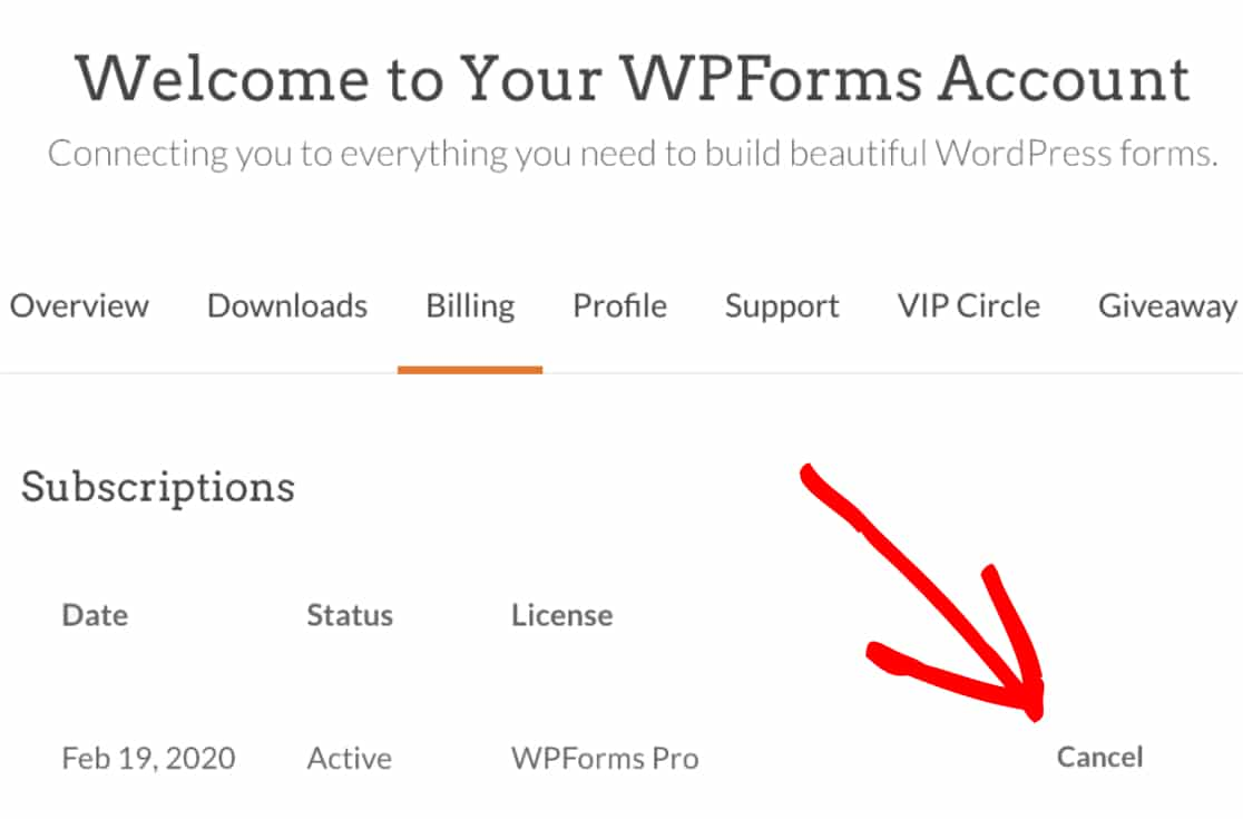 Cancel WPForms subscription