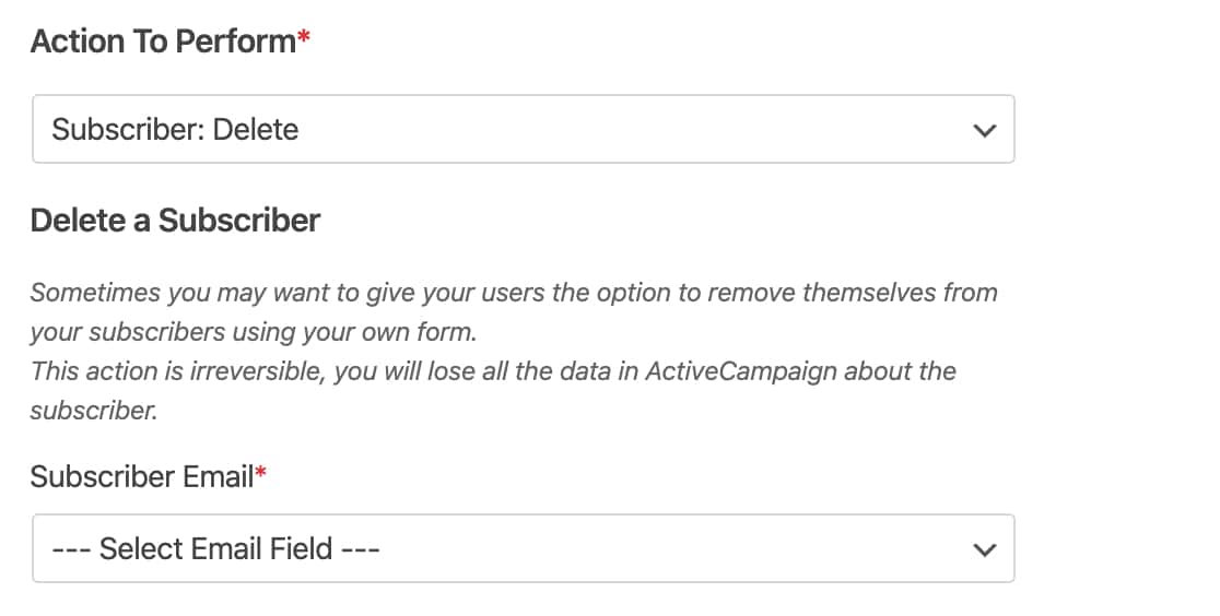 Delete a subscriber from ActiveCampaign