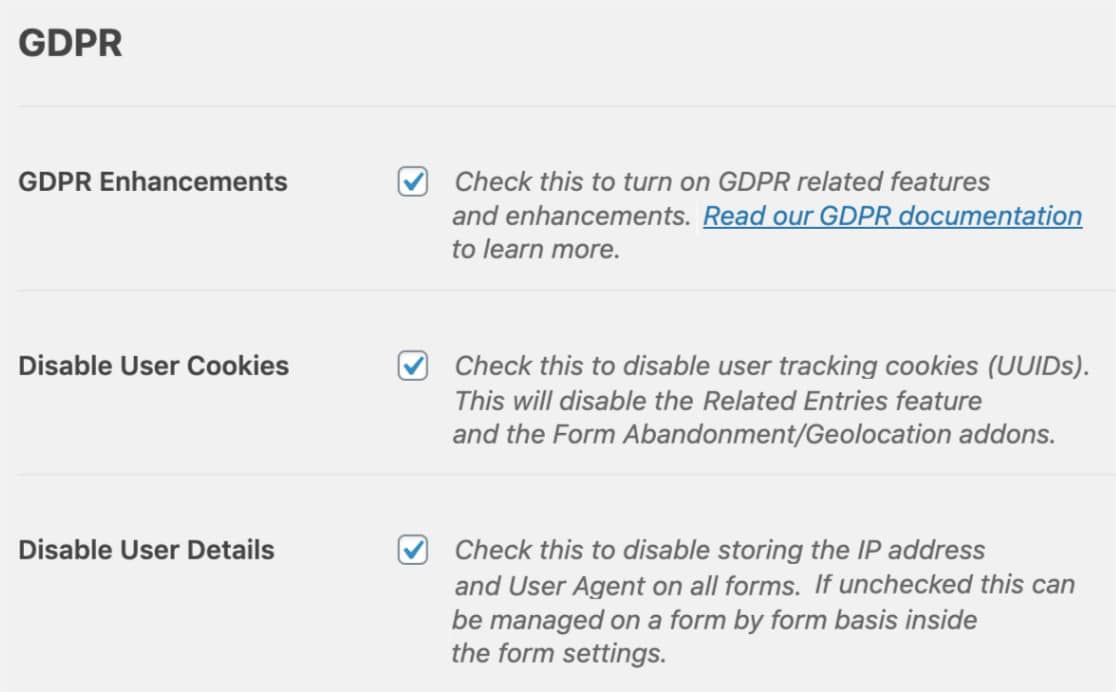 GDPR enhancement options in WPForms