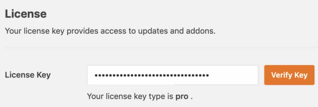 License key setting in WPForms