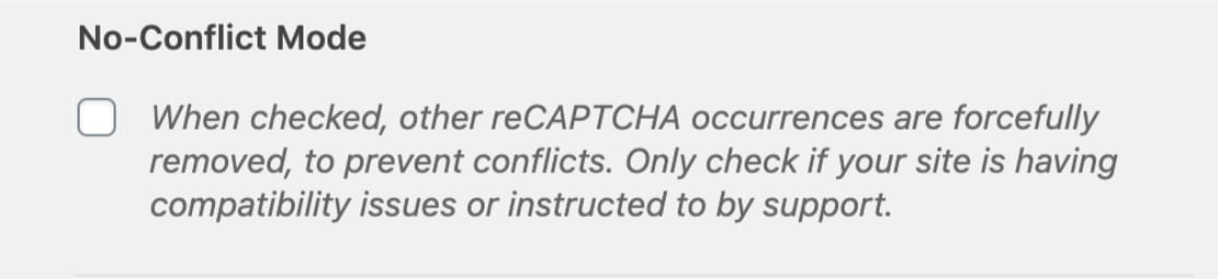 No-Conflict Mode for reCAPTCHA in WPForms