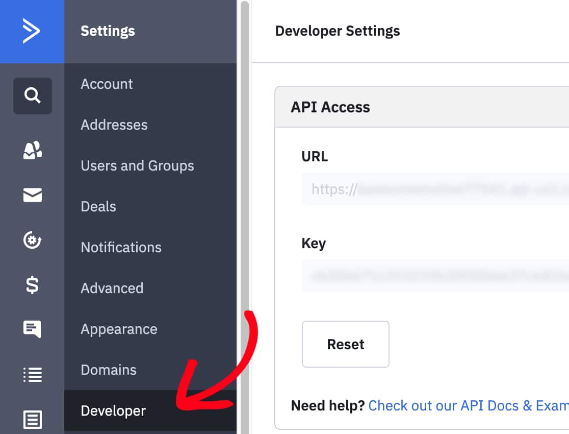 Open Developer page and then copy ActiveCampaign API values