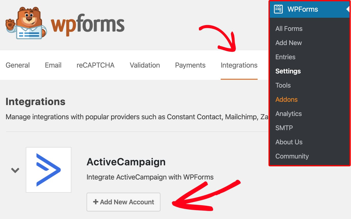 Open integrations tab in WPForms settings