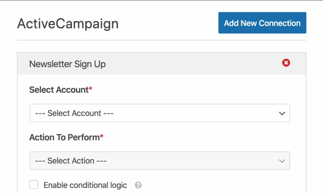 Select account and choose an action