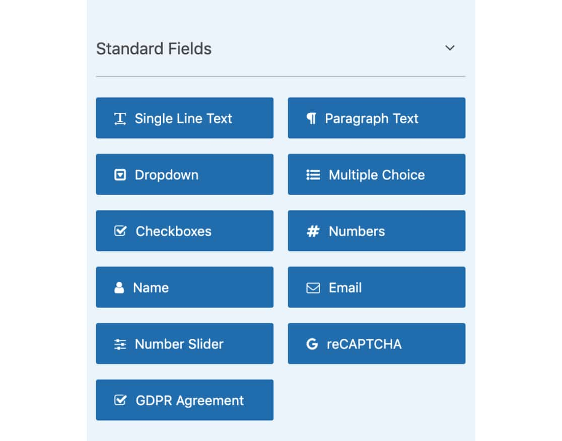 Standard WPForms Fields