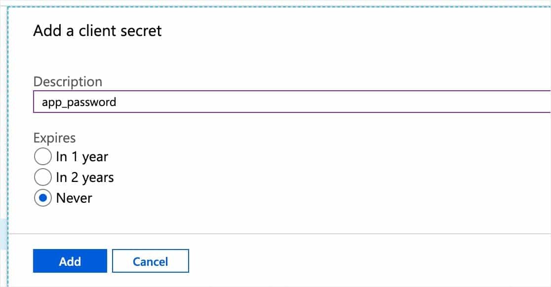add a client secret microsoft example