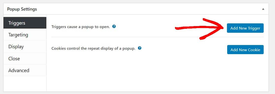 add new trigger to wordpress popup form