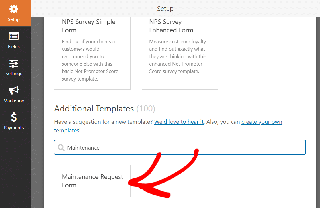 additional templates for maintenance form