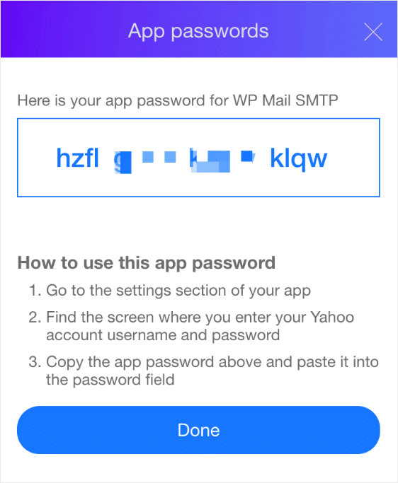 app generated password