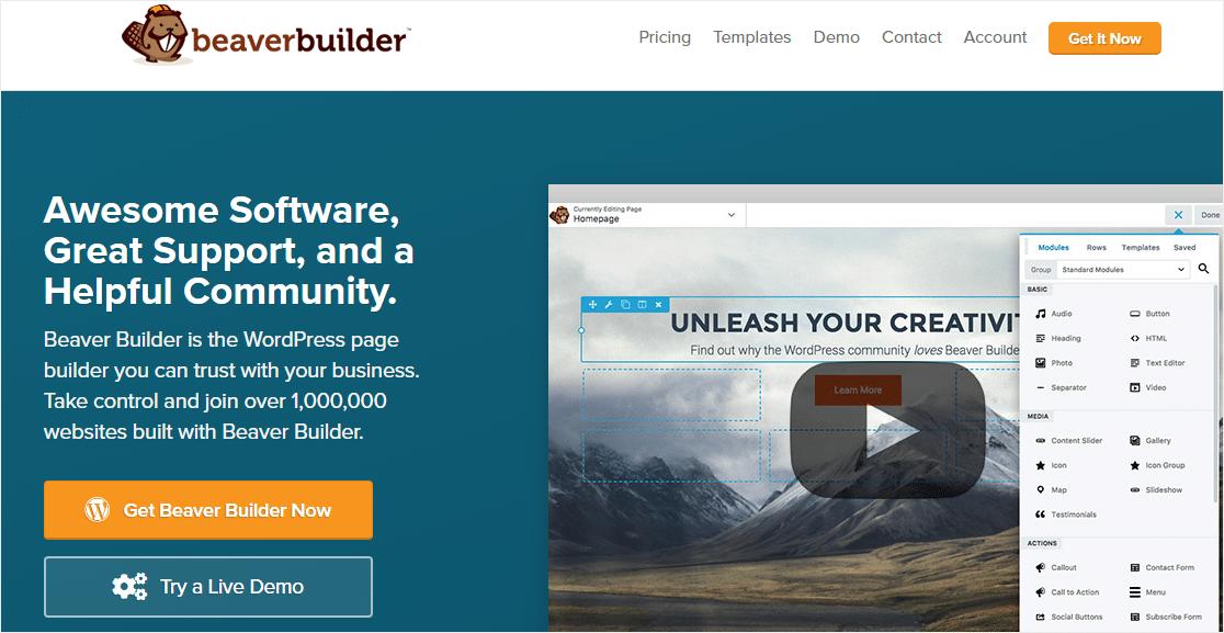 beaver builder best wordpress page builders