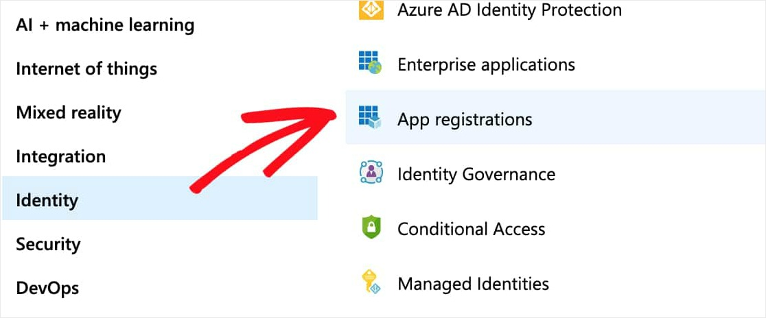 click on identity then app registrations for wordpress outlook mailer