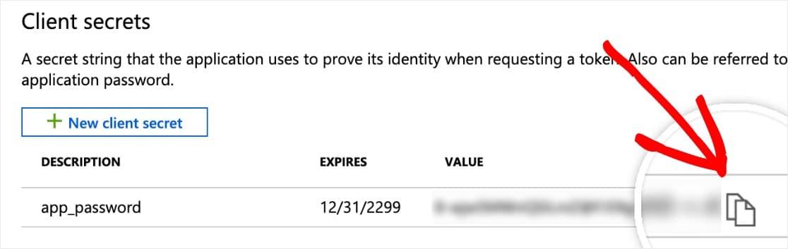 copy client secret