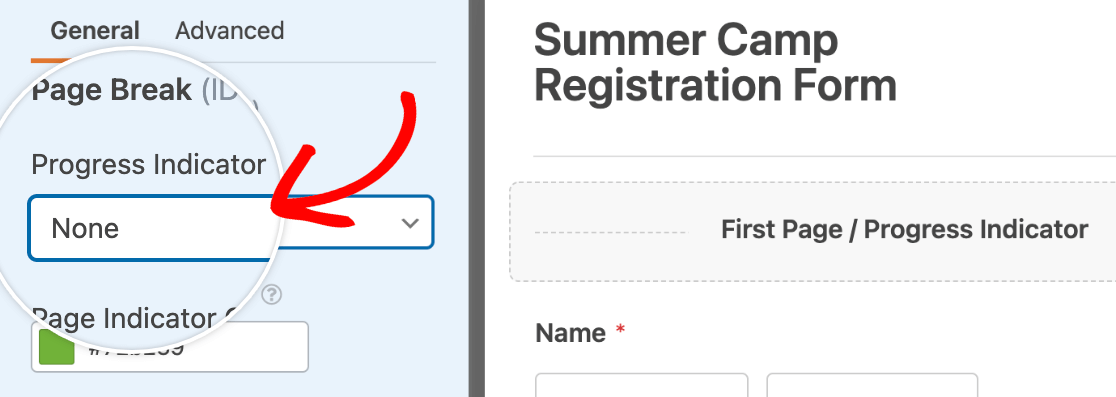 Disabling the page indicator for a multi-page form