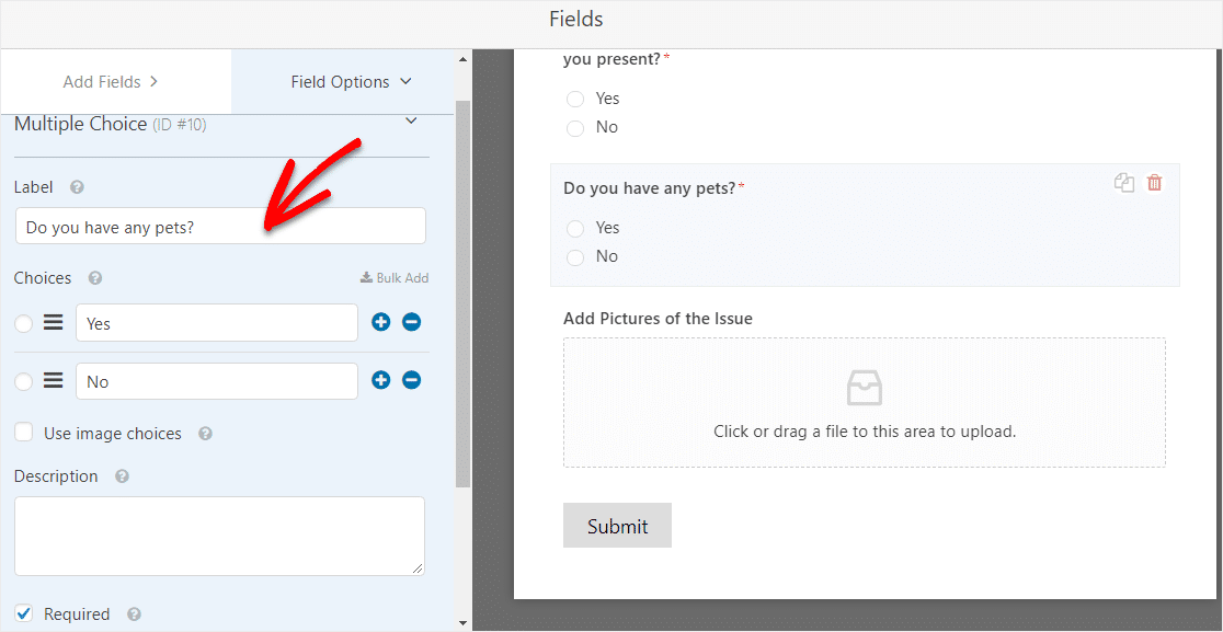 edit conditional logic in form