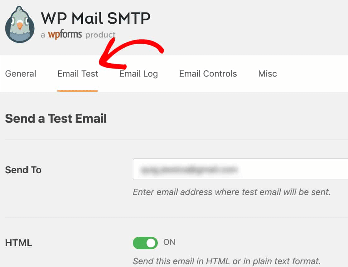 email test tab
