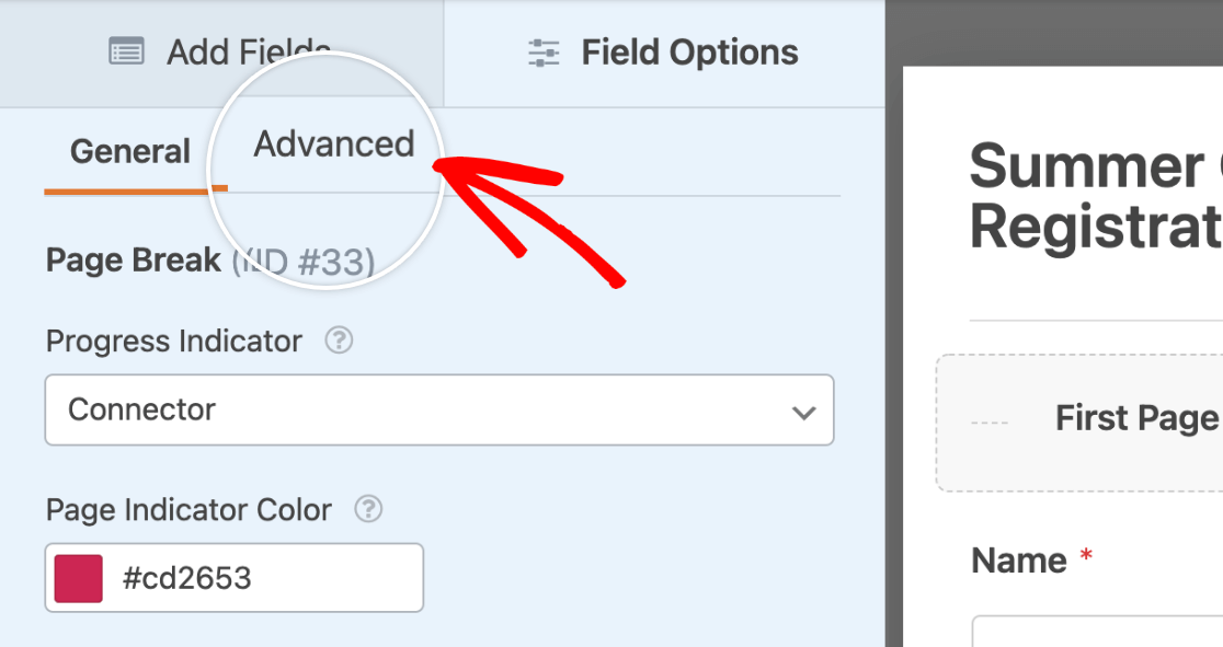 Accessing the advanced options for the first page of a multi-page form