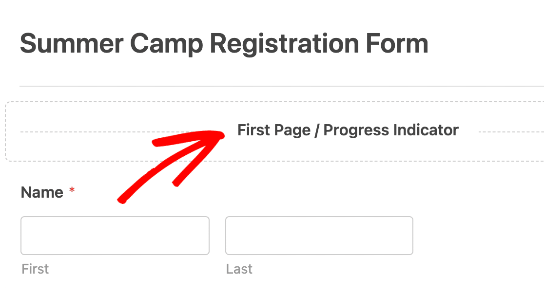 Opening the field options for the first page in a multi-page form