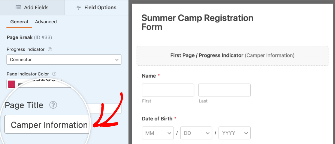 Changing the title of the first page in a multi-page form