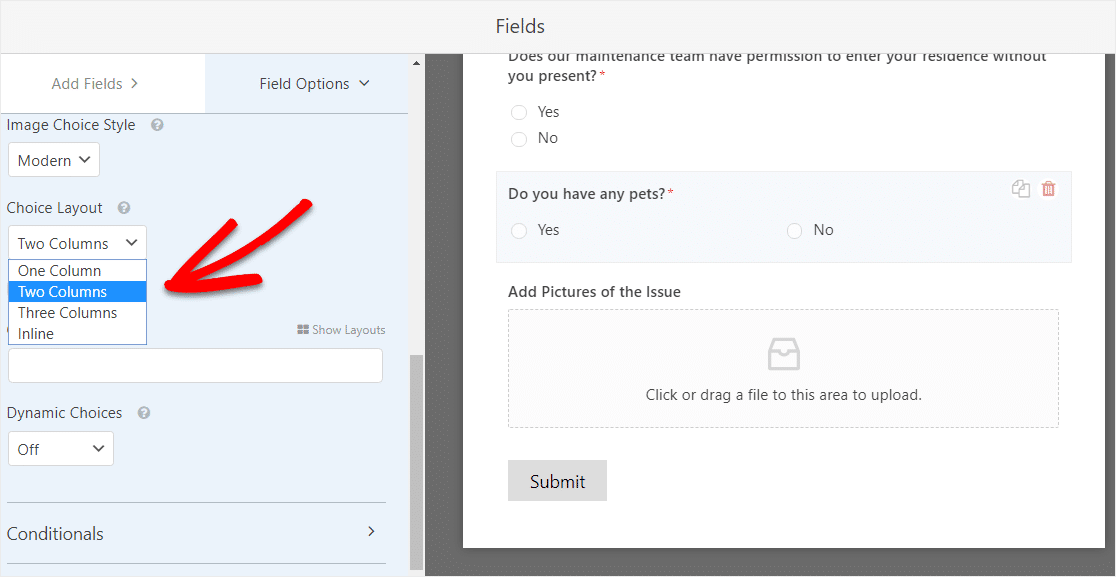 how to make a two column layout with multiple choice field