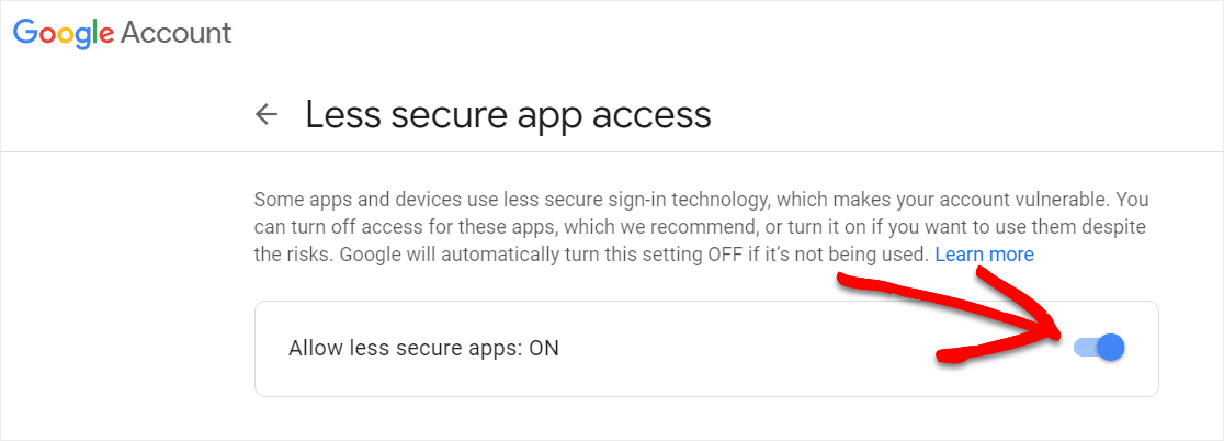 less secure apps on for when wordpress contact form not sending email